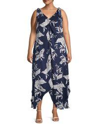 Estelle Women's Plus Leaf-print Asymmetrical Dress - Navy Print - Size 4x (26-28) - Blue