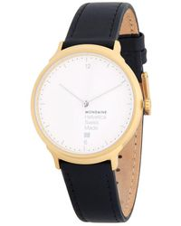 Mondaine - Leather Strap Watch - Lyst
