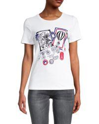 Karl Lagerfeld - Women's Postcard Graphic T-shirt - White - Size Xs - Lyst