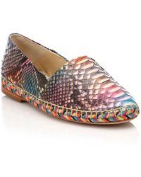 Alexandre Birman Rainbow Python Espadrille Flats - Pink