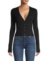 FRAME Ribbed V-neck Silk & Cotton-blend Cardigan - Black