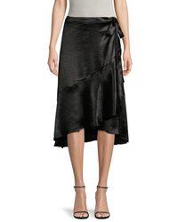 Ava & Aiden Women's Satin High-low Ruffle Wrap Skirt - Black - Size M