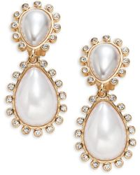 Kenneth Jay Lane Goldtone, Crystal & Faux Pearl Teardrop Earrings - Multicolor