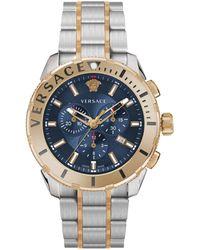 Versace Two-tone Stainless Steel Chronograph Bracelet Watch - Metallic
