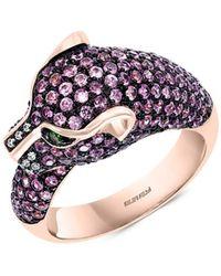 Effy Women's 14k Rose Gold, Pink Sapphire, Tsavorite & Diamond Panther Ring - Rose Gold
