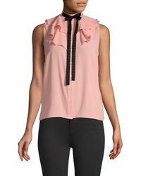 Cece Tie-neck Ruffled Sleeveless Top - Pink