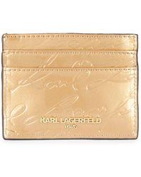 Karl Lagerfeld Embossed Pvc Card Case - Natural