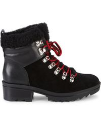 Marc Fisher Brylee Suede & Leather Shearling-trim Combat Boots - Black