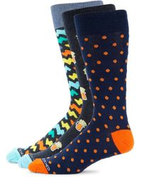 Unsimply Stitched Men's 3-pack Printed Combo Crew Socks - Blue