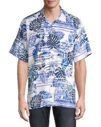 Tommy Bahama Fan Leaf-print Silk Shirt - Blue