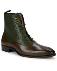 Mezlan - Two-tone Leather Oxford Boots - Lyst
