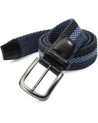 Saks Fifth Avenue Tri Stripe Woven Belt - Blue