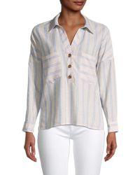 Dress Forum Striped Johnny-collar Shirt - Grey