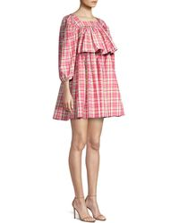 Michael Kors Square Neck Puff-sleeve Madras Dress - Pink