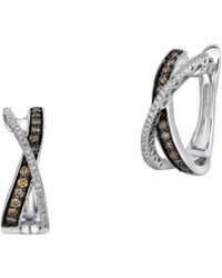 Le Vian - Chocolatier® Gladiator® Chocolate & Vanilla Diamond® Hoop Earrings - Lyst