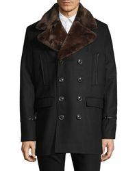 Karl Lagerfeld Faux Fur Lapel Coat - Black