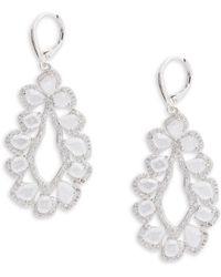 Saks Fifth Avenue | Cubic Zirconia Silvertone Earrings | Lyst