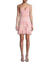 Parker Jay Striped Ruffled Mini Dress - Pink