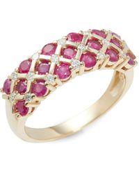 Legend Amrapali Dagger Diamond And 14k White Gold Pendant Necklace - Multicolour