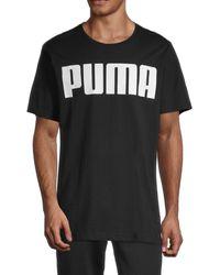 PUMA Men's Graphic Logo Stretch-cotton Tee - Black - Size Xl