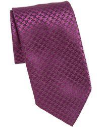 Charvet Houndstooth Silk & Linen Tie - Purple