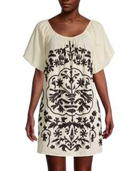 Free People Fiona Embroidered Mini Dress - White