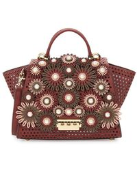 Zac Zac Posen - Perforated Leather & Faux-pearl Floral Handbag - Lyst