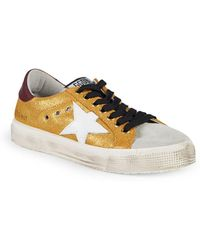 497b3e5b1d28 Golden Goose Deluxe Brand - May Metallic Leather & Suede Trainers - Lyst