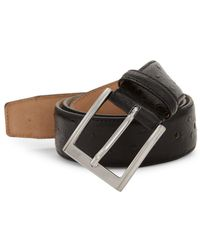 Saks Fifth Avenue Ostrich-stamped Leather Belt - Black
