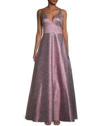 ML Monique Lhuillier Metallic Floral Ball Gown - Multicolor