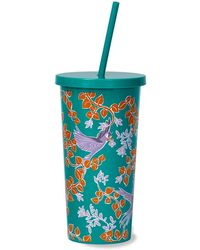 Kate Spade Bird Party Tumbler & Straw - Blue