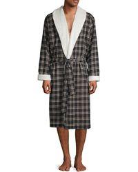 UGG Kalib Faux Shearling-lapel Plaid Robe - Black
