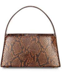 STAUD Women's Caroline Snakeskin-embossed Leather Shoulder Bag - Caramel - Multicolour