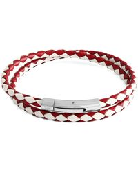 Tateossian Stainless Steel & Leather Bracelet - Red