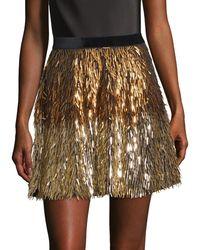 Alice + Olivia Cina Embellished Glitter Tassel Mini Skirt - Multicolor