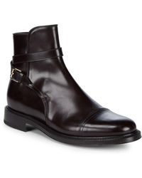 Brioni Leather Strap Ankle Boots - Brown