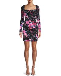 Guess Floral Ruched Bodycon Dress - Black
