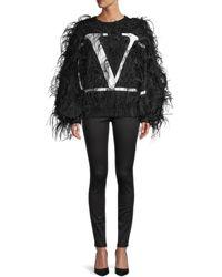 Valentino Women's Ostrich Feather Logo Sweatshirt - Nero Bianco - Size S - Black