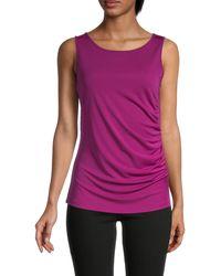 Donna Karan Side Drape Top - Purple