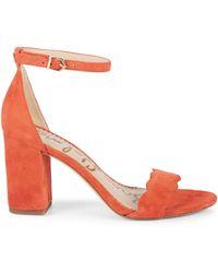 Sam Edelman Odila Suede Block-heel Ankle-strap Sandals - Orange