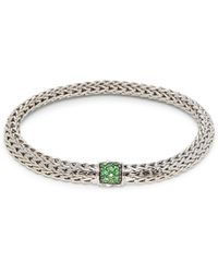 John Hardy Sterling Silver & Tsavorite Braided Chain Bracelet - Metallic