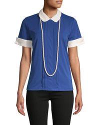 Karl Lagerfeld Pleated Peter Pan Collar Top - Blue