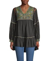 Free People Embroidered Cotton Blouse - Black