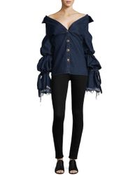 Caroline Constas Off-the-shoulder Denim Jacket