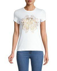 Roberto Cavalli Metallic Monogram Logo T-shirt - White