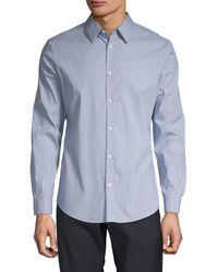 Calvin Klein Slim-fit Stretch Cotton Button-down Shirt - Blue