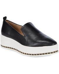 Karl Lagerfeld Brea Leather Platform Loafers - Black