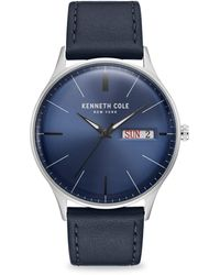 Kenneth Cole Classic Stainless Steel Leather-strap Watch - Multicolor
