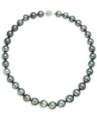 Belpearl Women's 14k White Gold & Black Round Tahitian Pearl Collar Necklace