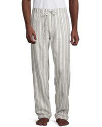 Hanro Men's Striped Cotton-blend Pyjama Trousers - Grey Stripe - Size Xxl